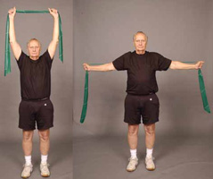 Thera-Band Lat Pull Down in Standing (Older Adult)