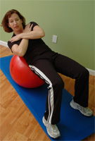 Thera-Band Exercise Ball Abdominal Oblique Crunch in Bridge
