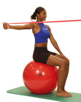 Thera-Band Shoulder Horizontal Abduction (sitting on ball)