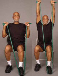 Thera-Band Shoulder Overhead Press (sit) older