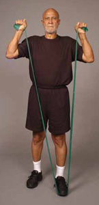 Thera-Band Shoulder Overhead Press (standing) Older